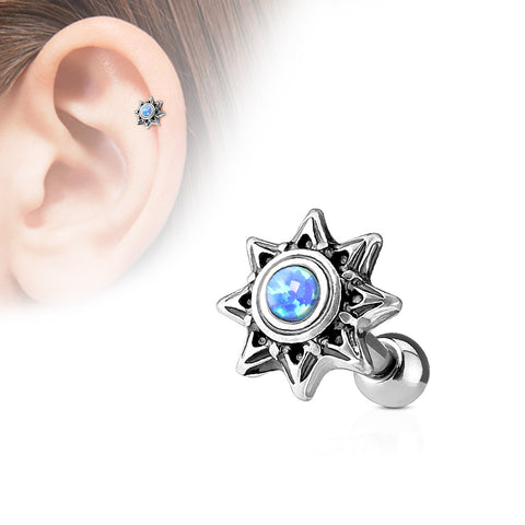 Blue Opal Set Tribal Sun 316L Surgical Steel Cartilage / Tragus Barbell