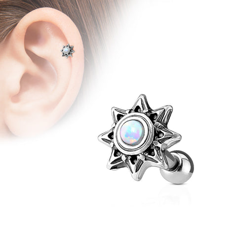 White Opal Set Tribal Sun 316L Surgical Steel Cartilage / Tragus Barbell