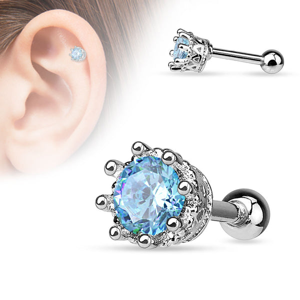 Aqua Crystal Crown Helix Tragus Stud, CZ Cartilage Barbell