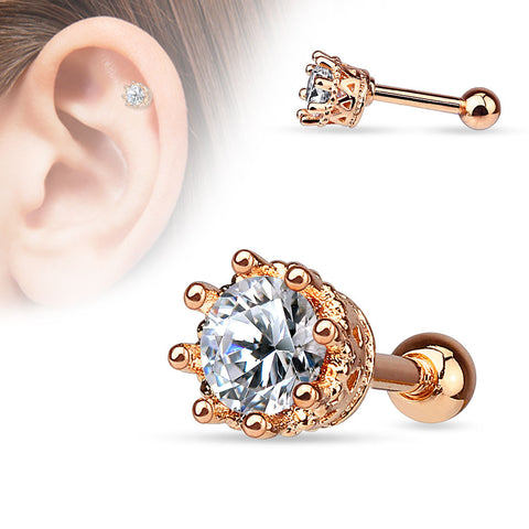 Rose Gold Crown Crystal Helix Tragus Stud, Clear CZ Cartilage Barbell