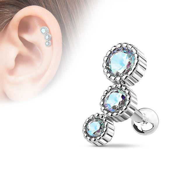 AB Crystal Helix Tragus Stud,  Silver Cartilage Barbell