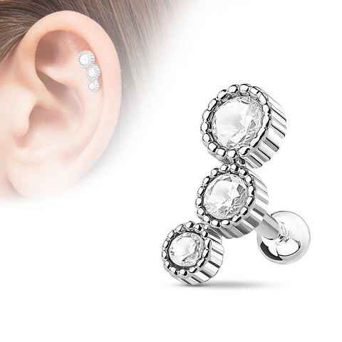 Silver Triple Crystal Helix Tragus Stud, CZ Cartilage Barbell