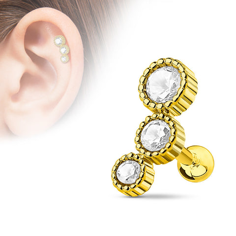 Triple Crystal Helix Tragus Stud, Gold Cartilage Barbell
