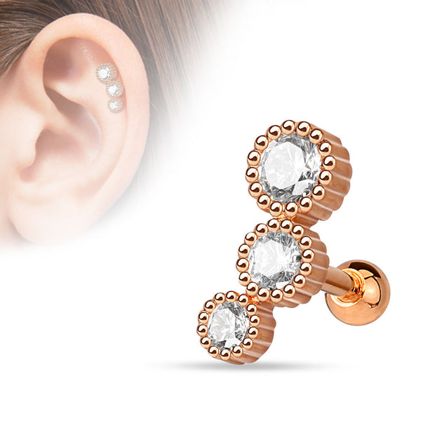 Rose Gold Helix Tragus Stud, Triple Crystal Cartilage Barbell
