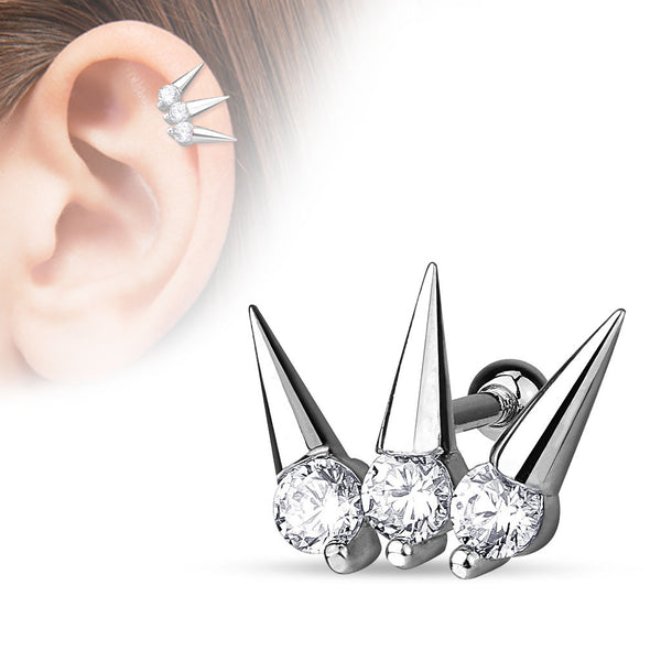 Silver Triple Spikes Crystal Helix Tragus Barbell