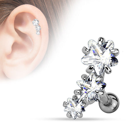 Triple Star Cartilage Bar, Clear CZ Star Helix Earring
