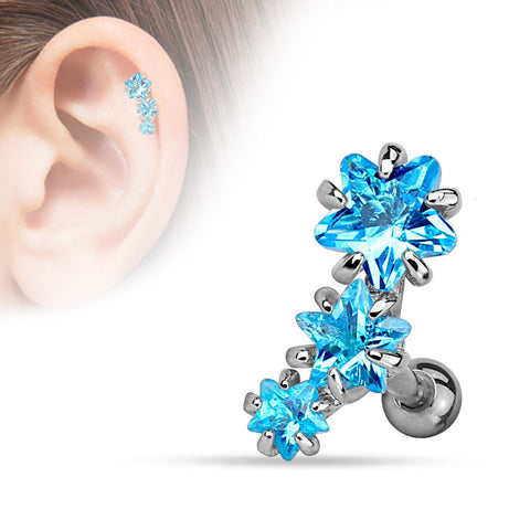 Blue Triple Star Tragus Bar, Crystal Star Helix Earring