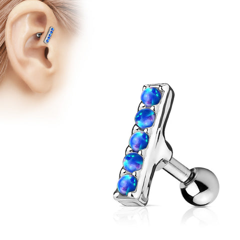Blue Opal Bar Helix Cartilage Tragus Earring Stud
