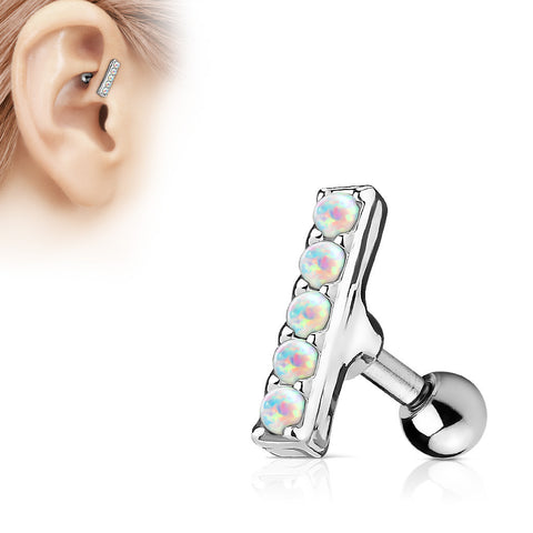 White Opal Bar Helix Cartilage Tragus Earring Stud