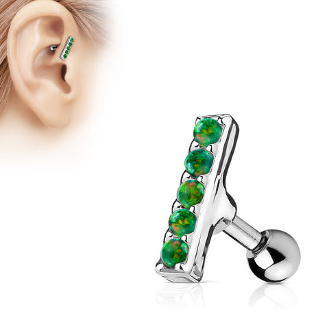 Green Opal Bar Helix Cartilage Tragus Earring Stud