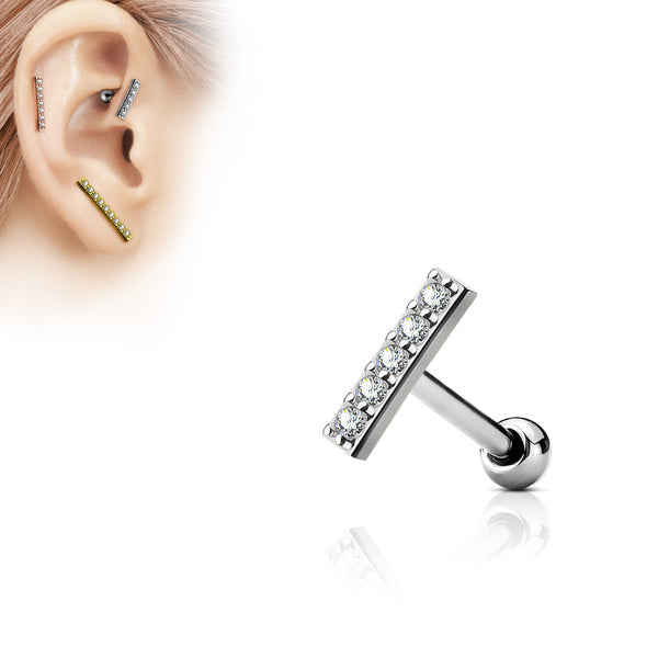 Silver Crystal Bar Cartilage / Helix / Tragus Barbell