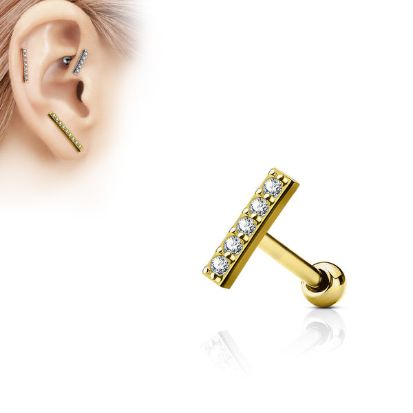 Gold Crystal Bar Cartilage / Helix / Tragus Barbell