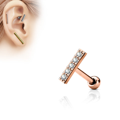 Rose Gold Crystal Bar Cartilage / Helix / Tragus Barbell