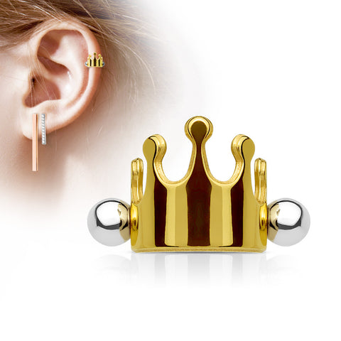 Gold Crown Helix Cuff Barbell, Crown Shielded Barbell Cartilage Piercing