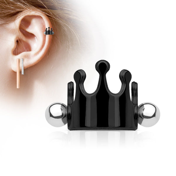 Black Crown Helix Cuff Barbell, Crown Shielded Barbell Cartilage Piercing