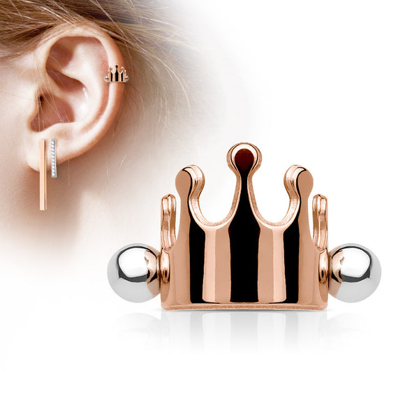 Rose Gold Crown Helix Cuff Barbell, Crown Shielded Barbell Cartilage Piercing