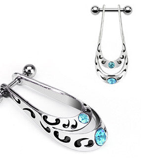 Light Blue Crystal Shield Helix Cartilage Ear Piercing Cuff