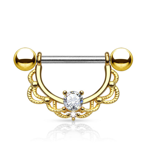 Crystal Filigree Dangle Nipple Ring, Gold Nipple Piercing