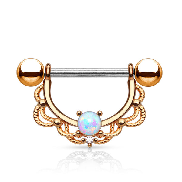 Rose Gold Centered Opal Filigree Dangle Nipple Ring