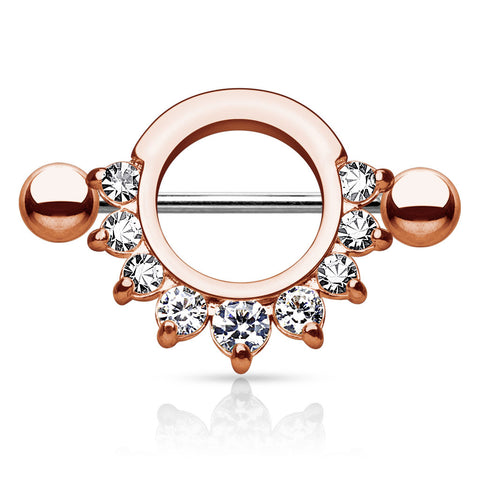Rose Gold Circle Nipple Shield, Crystal Nipple Barbell