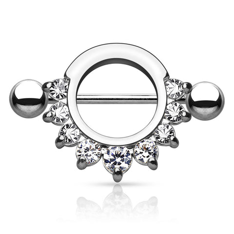 Silver Circle Nipple Shield, Crystal Nipple Barbell