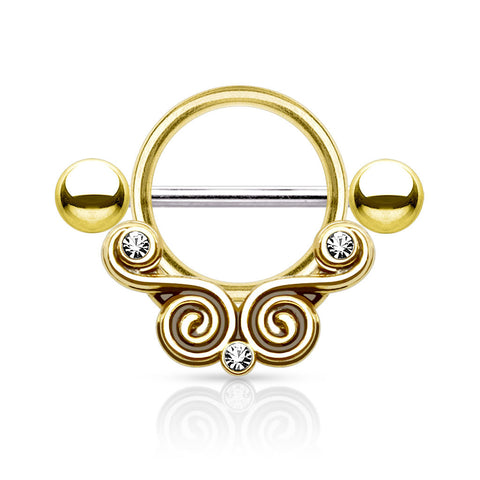 Gold Lace Circle Nipple Shield, 14G Nipple Barbell