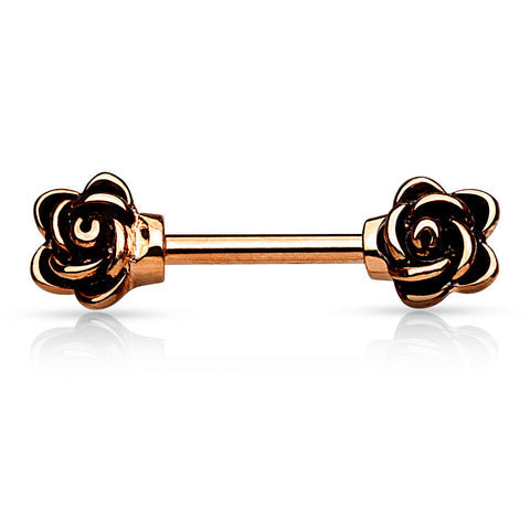 Rose Gold Flower End Nipple Barbell