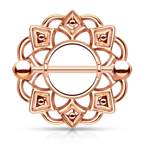 Rose Gold Tribal Shield Nipple Ring, 14G Nipple Piercing