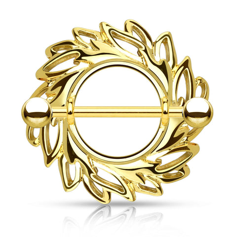 Gold Swirling Leaves Tribal Nipple Shield Ring, 14G Nipple Barbell