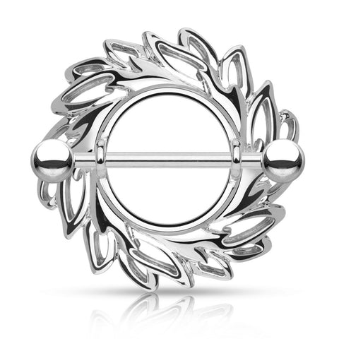Silver Swirling Leaves Tribal Nipple Shield Ring, 14G Nipple Shield