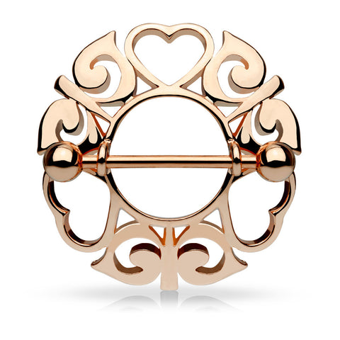 Rose Gold Tribal Hearts Hollow Nipple Shield, 14G Nipple Ring