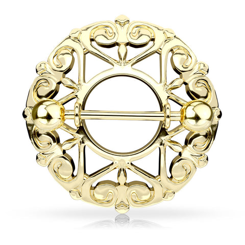 Gold Heart Filigree Round Nipple Shield, 14G Nipple Ring