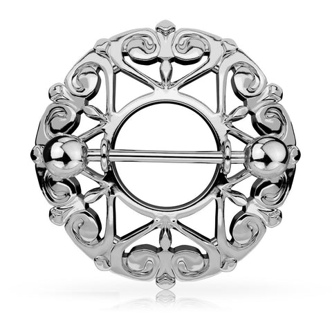 Silver Heart Filigree Round Nipple Shield, 14G Nipple Ring