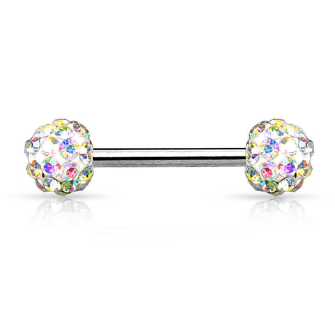 AB Crystal Paved Ferido Balls 316L Surgical Steel Nipple Bar