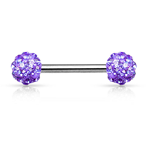 Tanzanite Crystal Paved Ferido Balls 316L Surgical Steel Nipple Bar