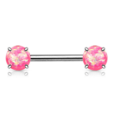 Pink Opal Nipple Barbell, 316L Surgical Steel Opal Nipple Piercing
