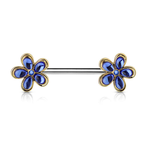 Blue Crystal Five Petal Flower Nipple Barbell, Crystal Flower Nipple Ring