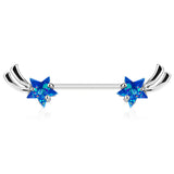 Silver Shooting Star With Blue Opal Glitter Nipple Barbell