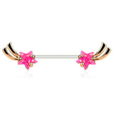 Rose Gold Shooting Star With Pink Opal Glitter Nipple Barbell