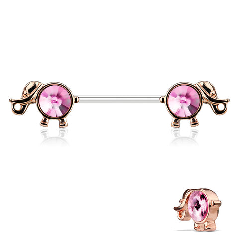 Rose Gold Elephant Nipple Barbell, Pink Crystal Nipple Piercing
