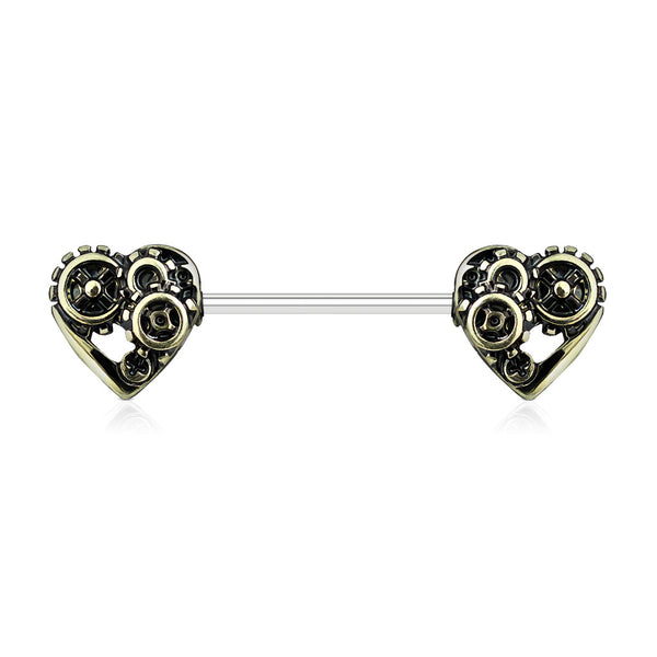 Antique Gold Heart Steampunk Nipple Barbell