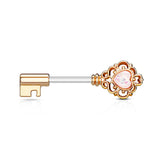 Rose Gold Heart White Opal Centered Filigree Key Nipple Barbell