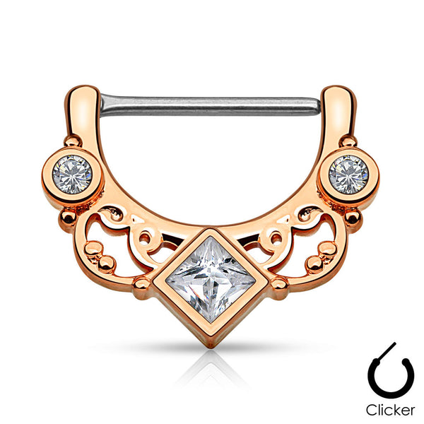 Rose Gold Square Centered CZ Nipple Clicker Ring