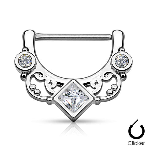 Square Centered CZ Nipple Ring, Silver Nipple Clicker