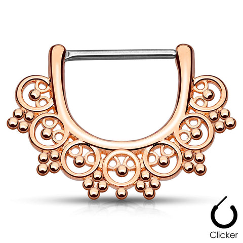 Rose Gold Tribal Fan Nipple / Septum Clicker
