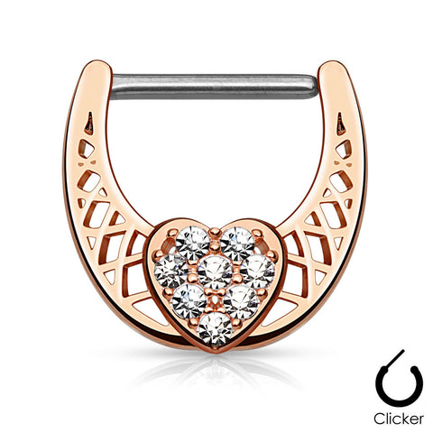 Rose Gold CZ Paved Heart Nipple Ring