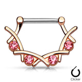 Rose Gold Filigree Nipple Clicker, Pink Crystal Nipple Ring