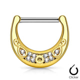 Gold Plated Crystals Set Filigree Nipple Clicker