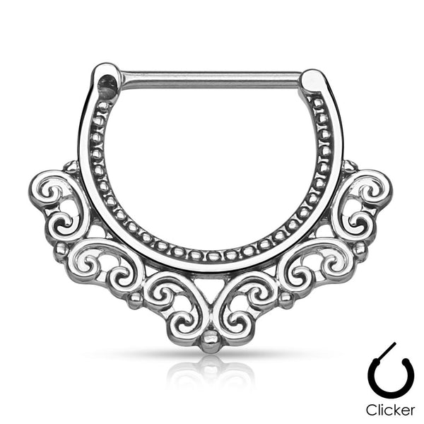 Silver Tribal Hearts Filigree 316L Surgical Steel Nipple / Septum Clicker, 14G - 16G
