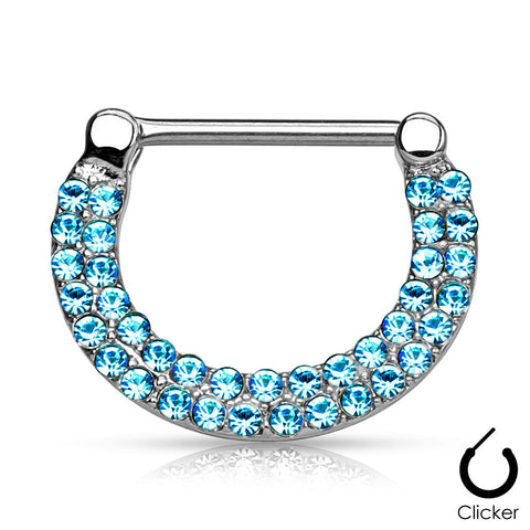 Blue Crystal Paved Nipple Ring, Silver Nipple Clicker